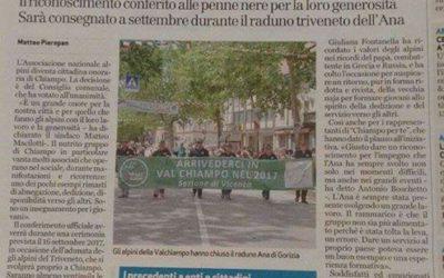 Chiampo conferisce la cittadinanza onoraria agli Alpini